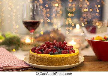 élelmiszer, más, torta, asztal, otthon, karácsony