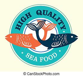 élelmiszer, magas, minőség, tenger