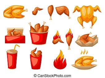 élelmiszer, meat., csirke, sült, gyorsan