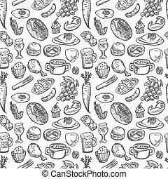 élelmiszer, motívum, seamless
