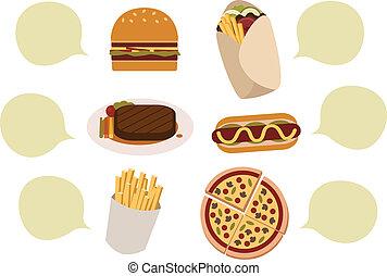 élelmiszer, noha, szöveg, buborék