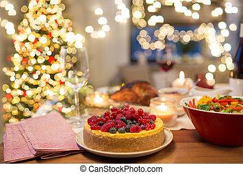 élelmiszer, otthon, torta, asztal, más, karácsony