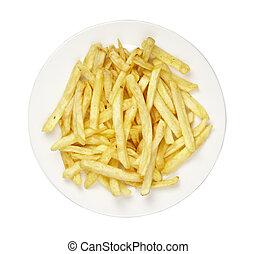 élelmiszer, sültkrumpli, alatt, tányér