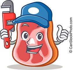élelmiszer, vízvezeték szerelő, betű, hús, karikatúra