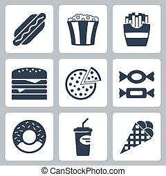 élelmiszer, vacak, vektor, állhatatos, ikonok