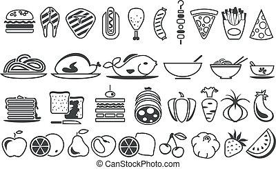 élelmiszer, vektor, ikonok