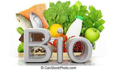 élelmiszerbolt, papírzacskó, closeup, noha, egészséges, termékek, és, bio, 3, szó, elszigetelt, white