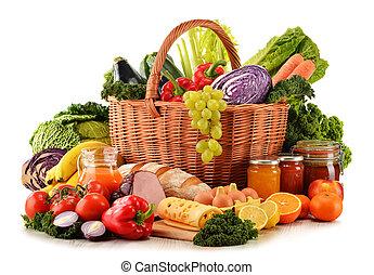 élelmiszerbolt, szerves, változatosság, elszigetelt, termékek, fehér