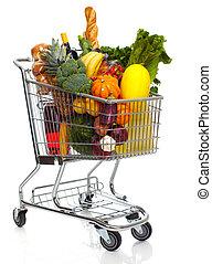 élelmiszerbolt, tele, cart.