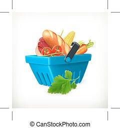 élelmiszerek, kosár, bevásárlás