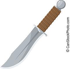 éles, vektor, kés, ábra