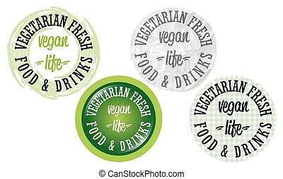 élet, állhatatos, ikonok, vegan, négy, szavak, kör alakú