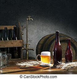élet, csap, hordó, sör, asztal, öreg, mozdulatlan