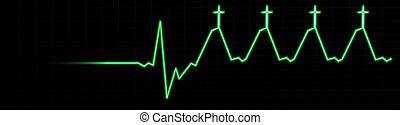 élet, ekg-death, jézus