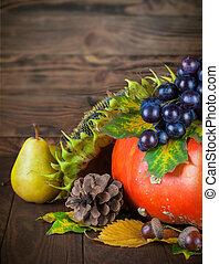 élet, fából való, őszies, bizottság, szőlő, mozdulatlan, sütőtök