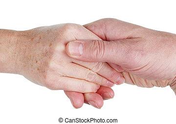 élet, feleség, concept., elszigetelt, együtt, öregedő, kézbesít, befolyás, férj