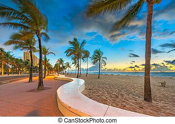 élet, florida, usa, sunrise., őr, lauderdale, tengerpart, bástya, erőd