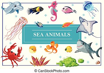 élet, fogalom, karikatúra, tenger