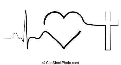 élet, ikon, jelentés, szívdobbanás, irány, szív, kereszt, bizalom, isten, egy, kereszt, vektor, keresztény, érverés, fogalom, egyenes