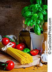 élet, mozdulatlan, főzés, olasz