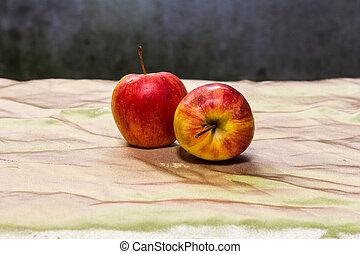 élet, mozdulatlan, két, alma