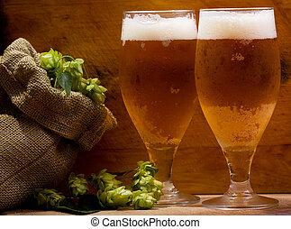 élet, mozdulatlan, sör szemüveg