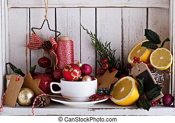 élet, szekrény, kopott, sikk, mozdulatlan, karácsony