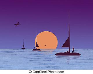 élet, tenger, éjszaka