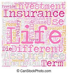 életbiztosítás, és, élet, biztosíték, vannak, nem, a, ugyanaz, szöveg, háttér, wordcloud, fogalom