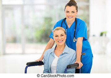életkor, türelmes, középső, női, ápoló