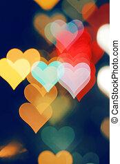 életlen, kedves, háttér, noha, heart-shaped, highlights.