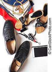 életmód, cipők, kiegészítő, backround, háttér, fehér, hölgy, mindenfelé