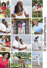 életmód, emberek, párosít, amerikai, afrikai, idősebb ember