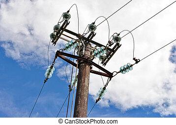 élevé, électricité, tension