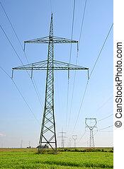 élevé, électricité, tension, pylônes