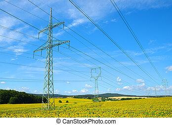 élevé, électricité, tension, pylons.