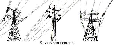 élevé, électricité, towers., tension