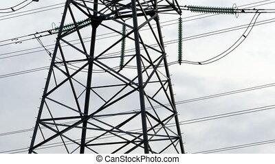 élevé, électrique, pylône, tension