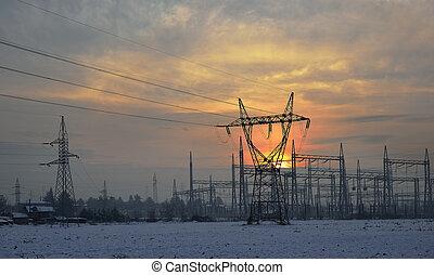 élevé, électrique, tension
