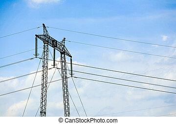 élevé, électrique, tension, pylône
