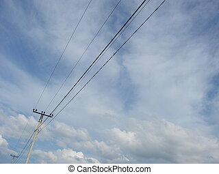 élevé, électrique, tower., ciel, tours, arrière-plan., tension