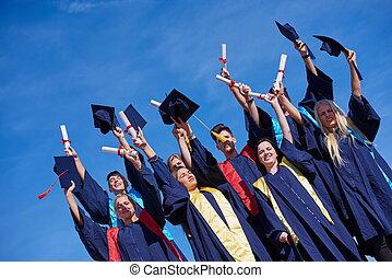 élevé, étudiants, école, diplômés