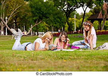 élevé, étudiants, école, jeune, heureux