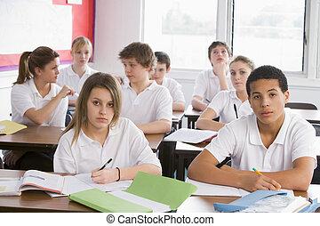 élevé, étudiants, classe école