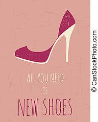 élevé, affiche, armé, retro, chaussures