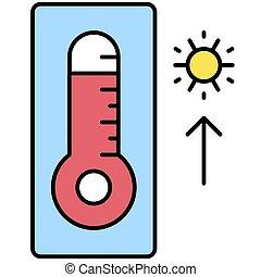 élevé, apparenté, icône, température, thermomètre, vacances été, vecteur