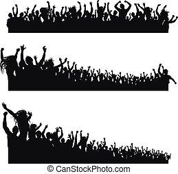 élevé, applaudissement, silhouettes, qualité, foule