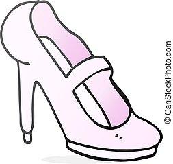 élevé, armé, dessin animé, chaussure