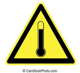 élevé, avertissement, température, jaune