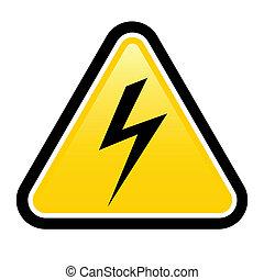 élevé, avertissement, tension, signe jaune